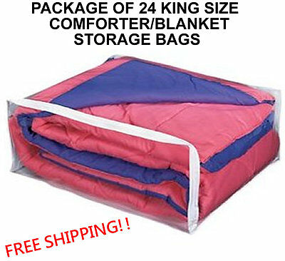 24 King Size Comforter Storage Bags  - Package Of 24 Blanket (King) Bag