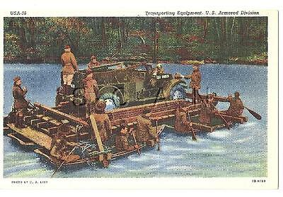 WWII PC- US Armored Division- Light Armored Recon Vehicle- Pontoon Ferry- 1940s