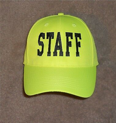 STAFF Hat Hi Viz  Hi Vis Safety Yellow  Concert Event Staff