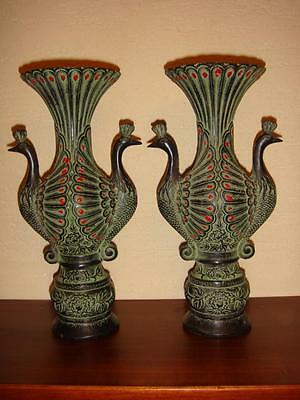 """Pair Of Big Old Chinese Suburb Bronze Made Vivid Peacock Shape Vase 10"""""""