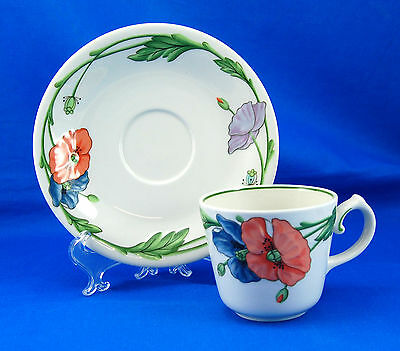 Villeroy and Boch AMAPOLA Flat Cup and Saucer Set 2.75 in. Orange Purple Flowers