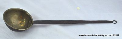 """19thC Antique Brass & Hand Wrought Iron 23"""" Long Dipper Ladle Hearthware 6"""" Bowl"""