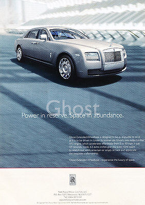 2012 Rolls Royce Ghost - power reserve - Classic Vintage Advertisement Ad PE99