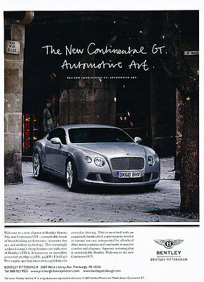 2011 Bentley Continental GT - Classic Vintage Advertisement Ad PE100