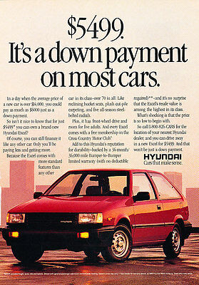 1989 Hyundai Excel Hatchback - 5499 - Classic Vintage Advertisement Ad A96