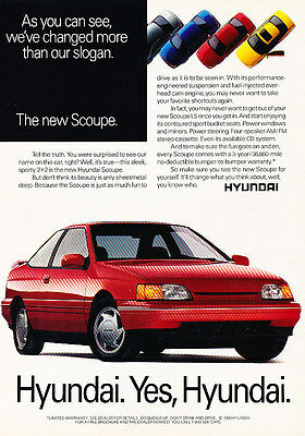 1991 Hyundai Scoupe LS Coupe - Classic Vintage Advertisement Ad A96