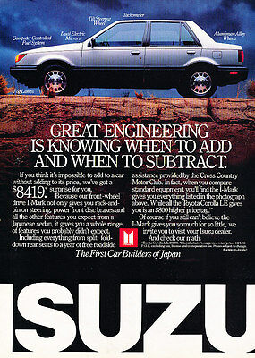1987 Isuzu I-Mark - Sedan - Classic Vintage Advertisement Ad A97