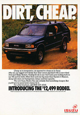 1990 Isuzu Rodeo - Dirt Cheap - Classic Vintage Advertisement Ad A97
