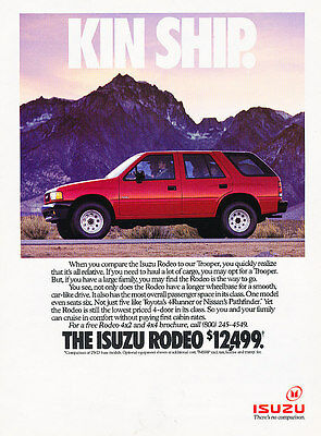 1990 Isuzu Rodeo - Kin Ship - Classic Vintage Advertisement Ad A97