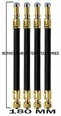 TYRE VALVE EXTENSION RUBBER X 4 TWIN WHEEL TRUCK LORRY VAN ADAPTER 180mm LONG