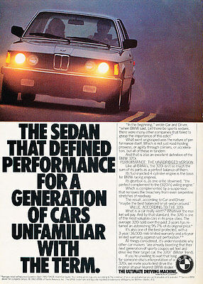 1982 BMW 320i - performance - Classic Vintage Advertisement Ad D01