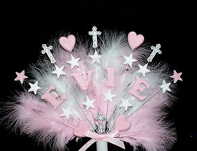 Christening, communion cross, personalised name cake topper  Handmade