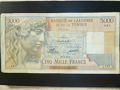 Algeria Tunisia Lot P-109a 1950 5000 Francs Fine Add Collection