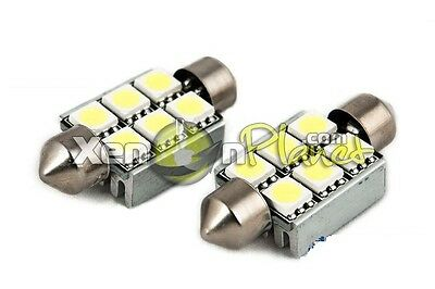 2x 37mm C5W 6 SMD LED Festoon License Number Plate Light Bulbs Error Free Canbus