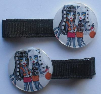 Boutique Girl Hair Clips Bows Monster High Werecat Twins Meowlody Purrsephone