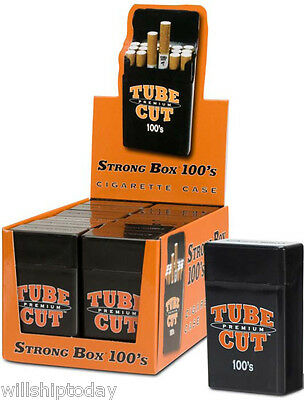 12 GAMBLER TUBE CUT 100 MM STRONG BOX PLASTIC CIGARETTE STORAGE CASES 100s SIZE