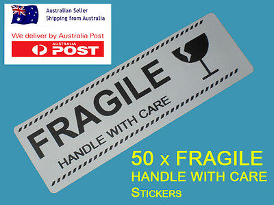 """50 x Fragile Stickers/Labels """"FRAGILE HANDLE WITH CARE"""""""