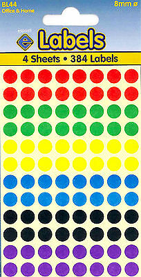 8mm Round Stickers Sticky Dots Coloured Circle Labels
