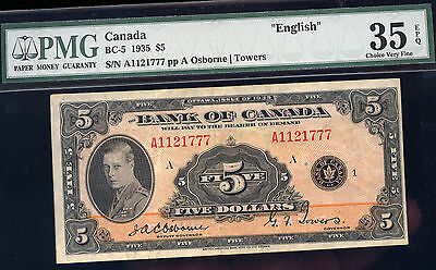 $5 Bank Of Canada   1935  Pmg 35