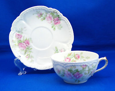 Charles (Ch.) Field Haviland SCHLEIGER 185 Flat Cup and Saucer Set 2 in. Roses