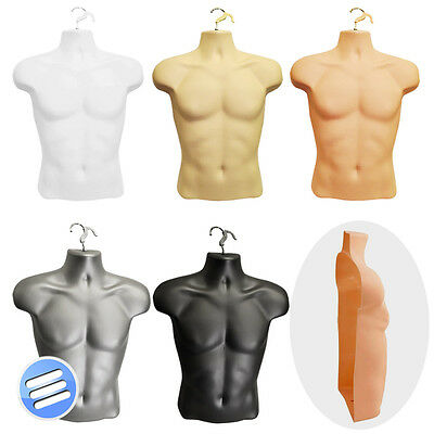 Half Male Hanging Body Form Shop Display Bust Torso Shell Mannequin - 5 Colours
