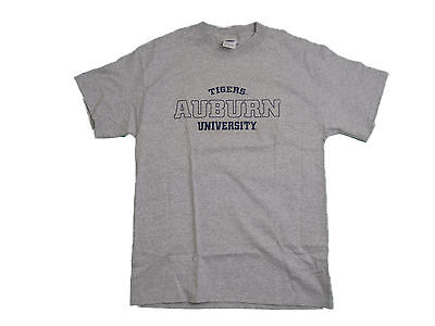 Auburn Tigers Adult Grey Embroidered Short Sleeve T-Shirt New