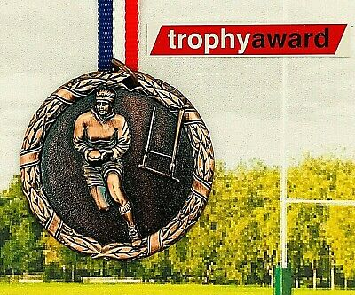 Rugby Medal Trophy Silver (Superb Quality) + FREE POST + ENGRAVING