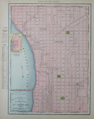 Original 1895 Streetcar Map ST. JOSEPH Missouri Railroads Round House Convent