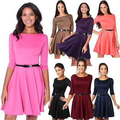 Women Belted 3/4 Sleeve Top Pleated Tailored Swing Skater Mini Dress Party