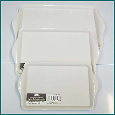 White Melamine/Plastic Serving Trays - Set of 3 - (Brand New)