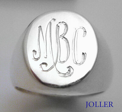 SIGNET RING 14x12 CUSTOM HAND ENGRAVED MONOGRAMS SOLID SILVER 925 BY JOLLER