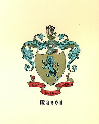 Great Coat of Arms Mason Family Crest genealogy, would look great framed!