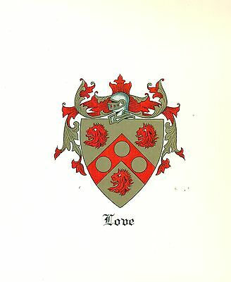Great Coat of Arms Love Family Crest genealogy, would look great framed!