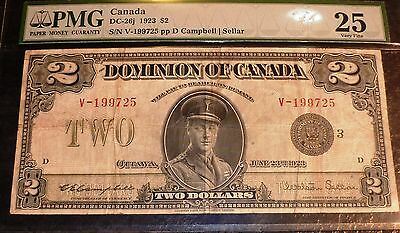1923 $2 Dominion Of Canada  CAMPBELL -SELLAR Group 3 PMG  25