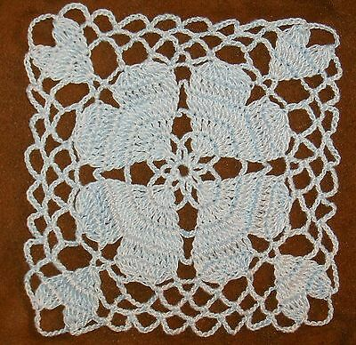 Crochet Hand Dyed Thread Applique Pastel Blue Doily Heart Embellishment