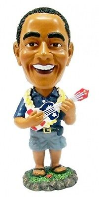 "NEW Hawaiian Dashboard Bobble Head Doll ~ PRESIDENT OBAMA W/ UKULELE 4"" #40668"