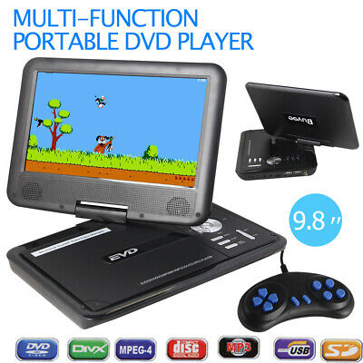 "Brand New 9.8"" Portable DVD Player DivX,Swivel, USB,SD,300 GAMES,Rechargeable"
