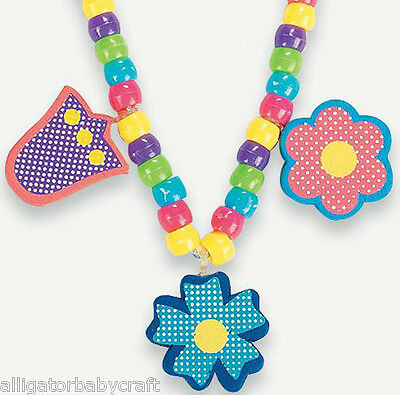 Flower Charm Necklace Craft Kit For Kids Girls Jewelry Birthday Party ABCraft