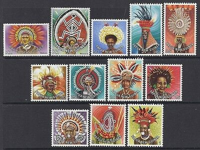 1977 Papua New Guinea Headdress Definitives Complete Set Of 12 Fine Mint Mnh/muh