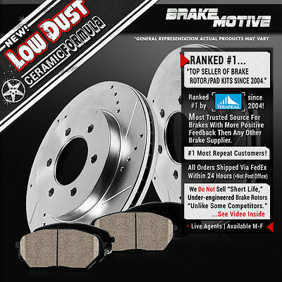 [FRONT KIT] DRILLED AND SLOTTED BRAKE ROTORS & CERAMIC PADS 2WD 4WD 4X4 M370538