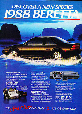 1988 Chevrolet Beretta Coupe - water - Classic Vintage Advertisement Ad D06