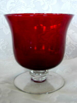 Beautiful Ruby Red /Crystal Blown Glass Footed Bowl / Compote
