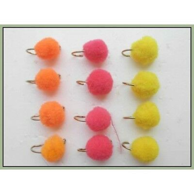 Egg Fishing flies, 12 Pack Pink, Orange & Yellow, Trout or Salmon, Mixed 8/10