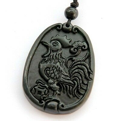 Happy Lucky Chinese Zodiac Rooster Coin Money Amulet Black Green Jade Pendant
