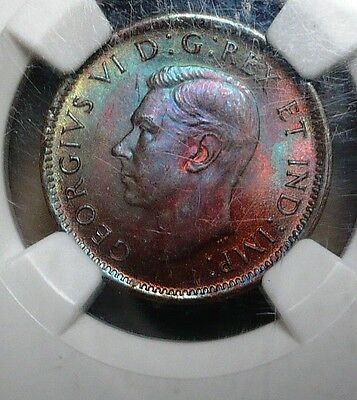 NGC MS64  1944  Canada Cent Colours Of The Rainbow