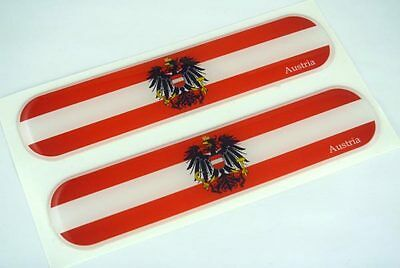 "Austria, Austrian Flag Domed Decal Emblem Car Flexible Sticker 5"" Set of 2"