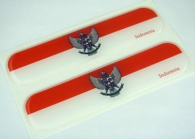 "Indonesia Indonesian Flag Domed Decal Emblem Car Flexible Sticker 5"" Set of 2"