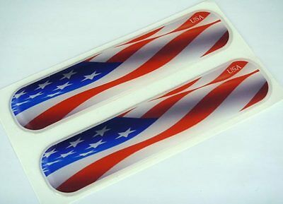 "USA American United States Flag Domed Decal Emblem Flexible Sticker 5"" Set of 2"
