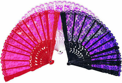Lace Chinese Fan White Victorian Wedding Geisha Halloween Costume Accessory