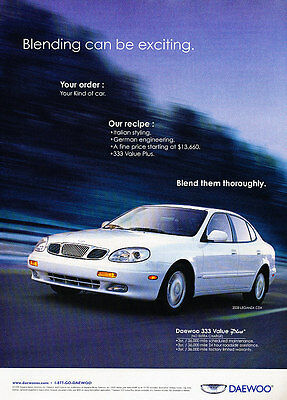2000 Daewoo Leganza CDX - white -  Classic Vintage Advertisement Ad D08